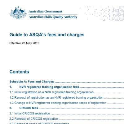 Cover of the Guide to ASQA's fees and charges